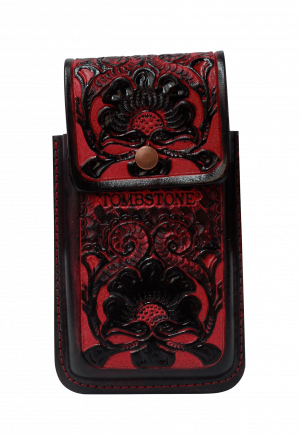 Porta celular flor rojo de piel