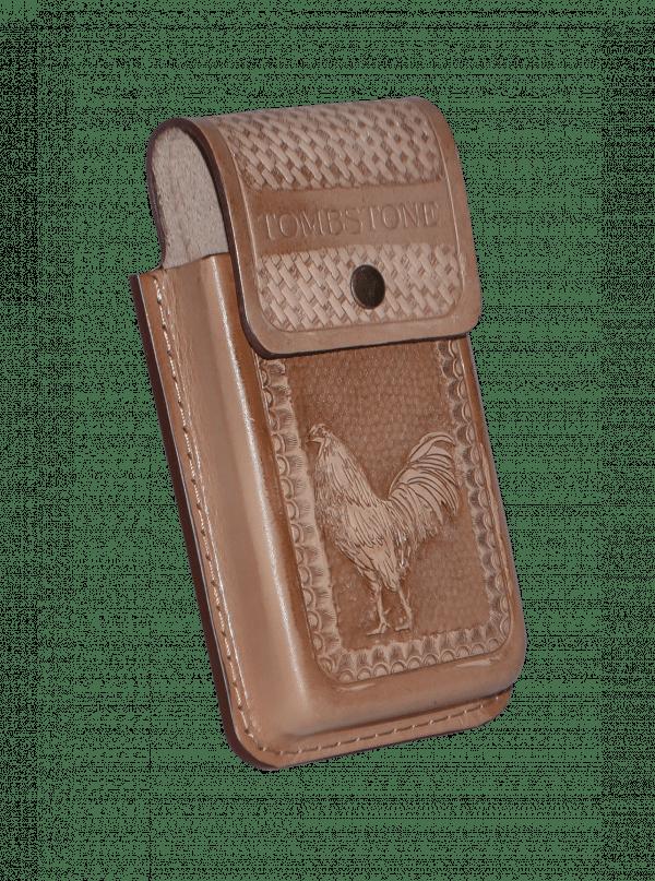Porta celular gallo capuccino de piel