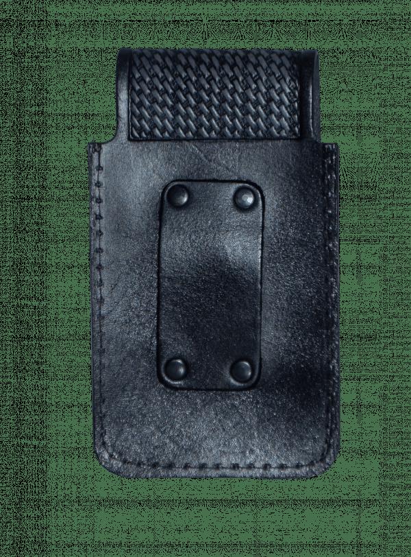 Porta celular gallo negro de piel