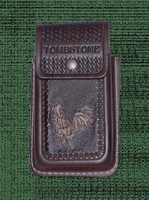 Porta celular gallo miel de piel